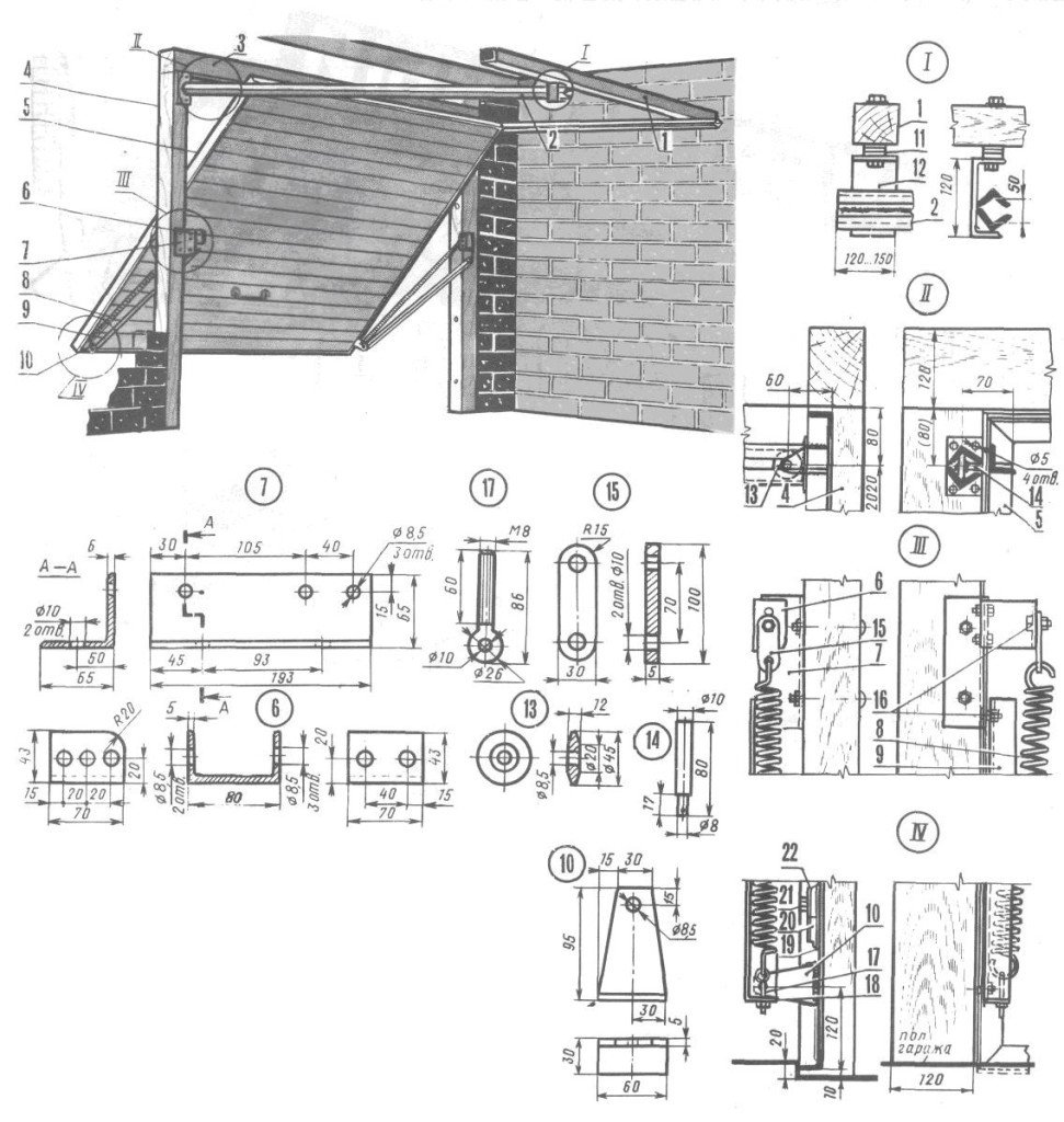 чертеж подъемных ворот для гаража