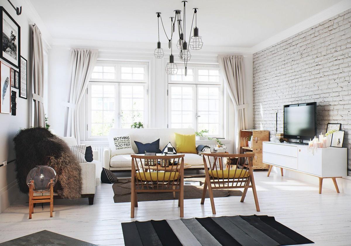 гостиной в скандинавской стиле